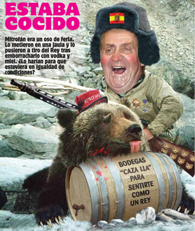 The king of Spain hunting a drunk circus bear, cartoon