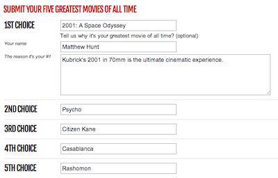 Vote For The 301 Greatest Movies Of All Time